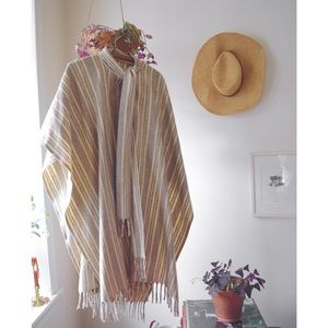 Vintage Wool Poncho with Fringe and Wood Buttons